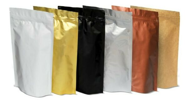 Assorted Size Stand Up Pouch Kraft Black Heat Sealable Zipper Coffee Bag +-Valve