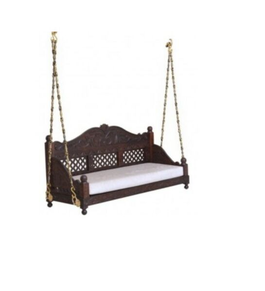 Swing Ceiling Handmade Love Seat with cushion Carved Jhula with metal Chain