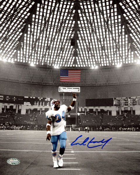 EARL CAMPBELL AUTOGRAPHED SIGNED 8X10 PHOTO HOUSTON OILERS MCS HOLO 159219