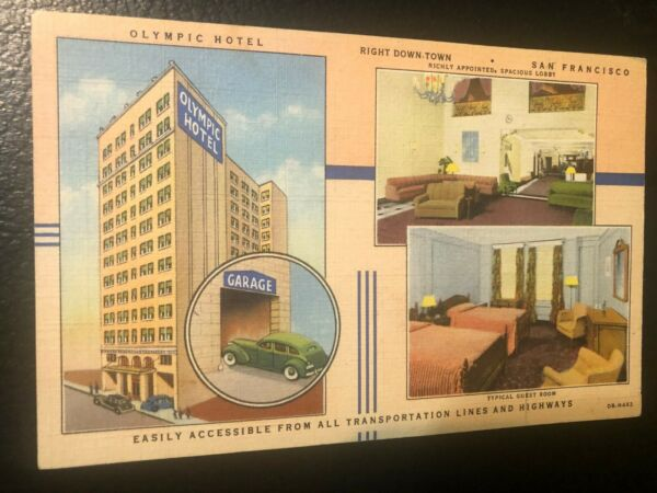 VINTAGE OLYMPIC HOTEL MULTI VIEW SAN FRANCISCO CALIF. POSTCARD.