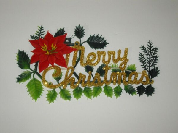 Vintage Plastic Merry Christmas Sign with Poinsettia & Leaves 12