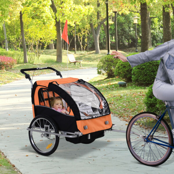 2 Seat Kid Bicycle Trailer Jogger with Windows and Canopy Coupler Attachment $159.99