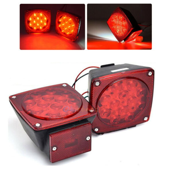 2x Car LED Submersible Square Trailer Truck Boat Tail Brake Lights Under 80