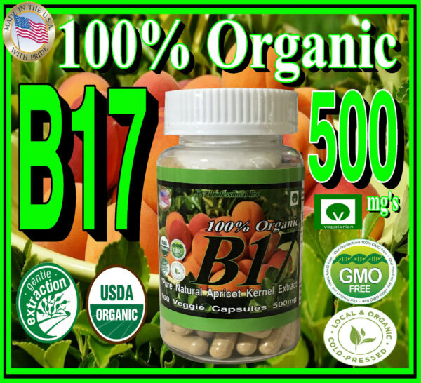 100% Organic Vitamin B17 500mg Natural Apricot Kernels Seeds Extract Pure USA