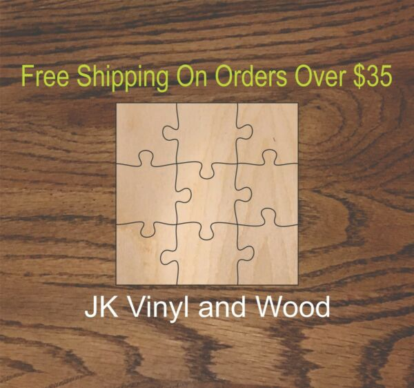 9 Piece Blank Wooden Puzzle Wood Cutout Wooden Craft Supply