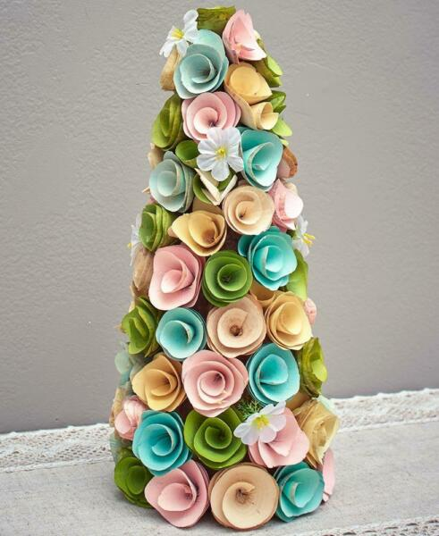 EASTER SPRING WOOD CURL HOLIDAY TREE TABLE MANTEL CENTERPIECE HOME DECOR