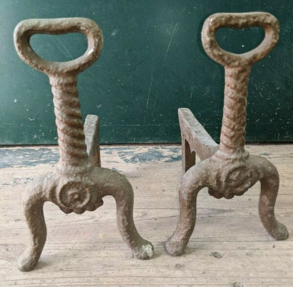 Vintage Heavy Solid Cast Iron Fireplace Andirons