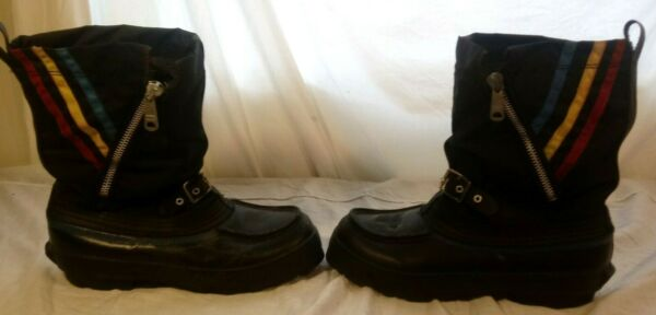 Vtg Steel Shank Winter Wool Insulated Snow Boots Mens Sz 10 Snowmobile Retro