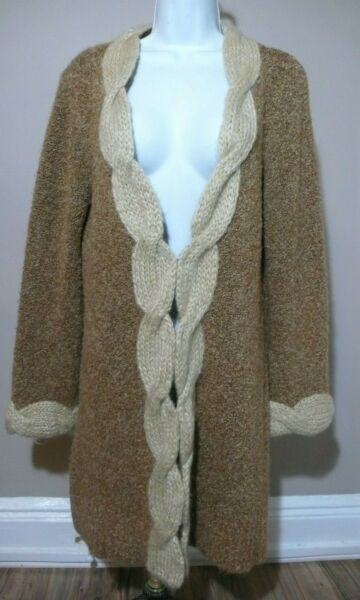 SLEEPING ON SNOW Women's Brown Sweater Cardigan Cable Knit Detail Sz L