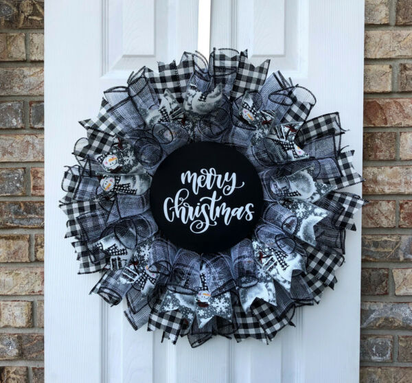 Handcrafted Black Gray & White Plaid Deco Mesh Wreath with Merry Christmas Sign