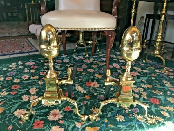 "Original Virginia Metalcrafters Harvin Solid Brass ""Revere"" Andirons"