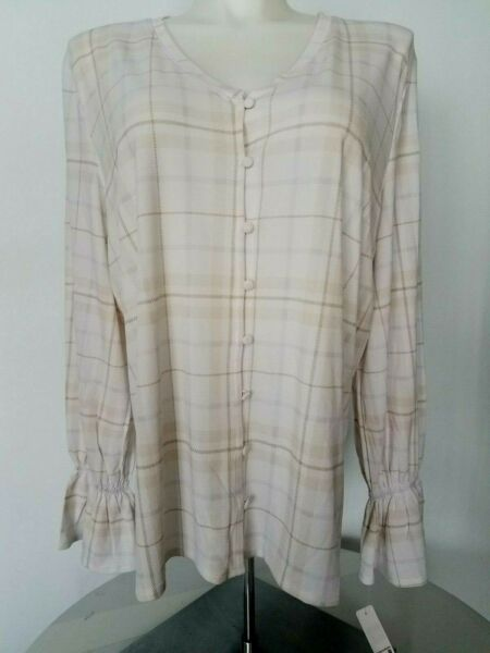 Massini front button top for women size 3X ruffle the sleeve white amp; gray color