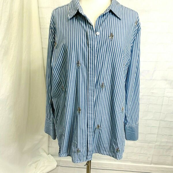 Ava & Viv Women's 2X Top Tunic Blue White Striped Floral Embroidery #A