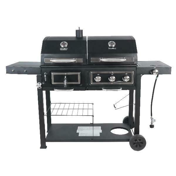 Dual Fuel Grill RevoAce Charcoal and Gas Black Stainless Steel Outdoor BBQ