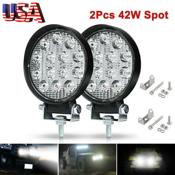 2PCS LED Work Light SPOT Lights For Truck Off Road Tractor ATV Round 42W T9#