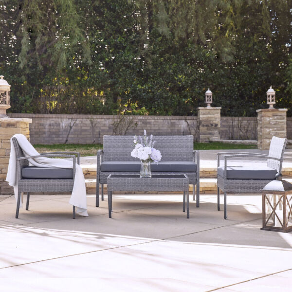 Patio Wicker Furniture Outdoor 4Pcs Rattan Sofa Garden Conversation Set Gray