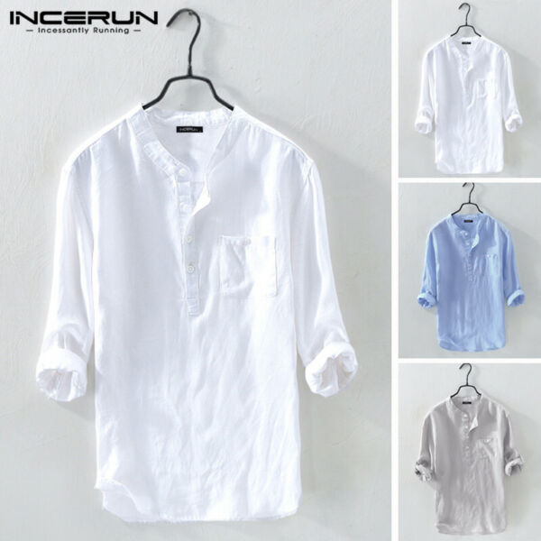 Mens Casual Long Sleeve Cotton Linen Blouse Loose Henley V Neck Tops T Shirts US $17.09