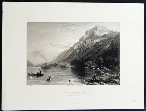 1840 William Bartlett Antique Print View Lake George & Black Mountain New York