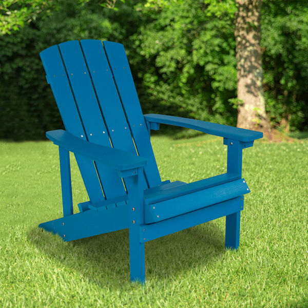 All-Weather Adirondack Chair in Blue Faux Wood - Patio and Backyard Furniture