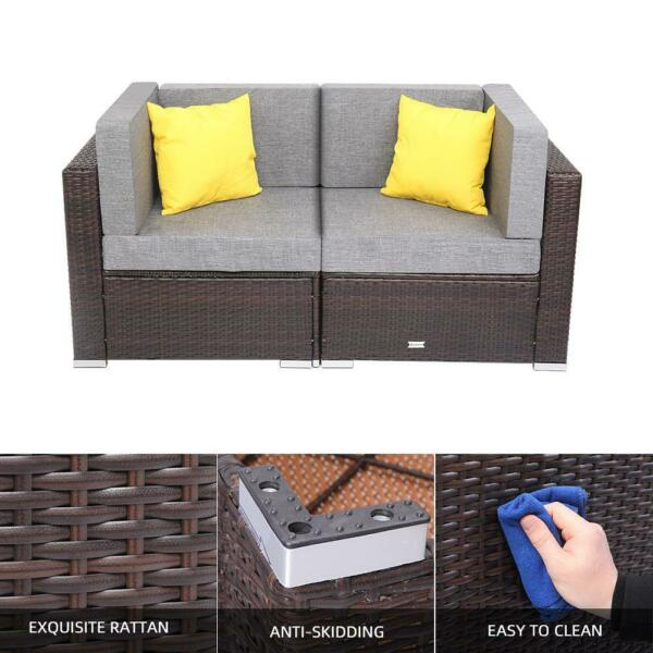 2PCS Outdoor Patio Corner Sofa Chairs Rattan Wicker Loveseat with Cushions $198.99