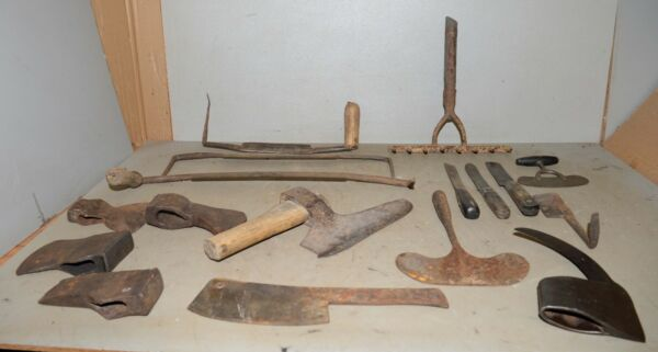 Whaling tool lot scrapers forged rake axe & knives cleavers collectible early