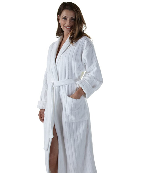 NIP New Boca Terry 100% Cotton Velour Stripe Bathrobe Shawl Collar Bath Robe