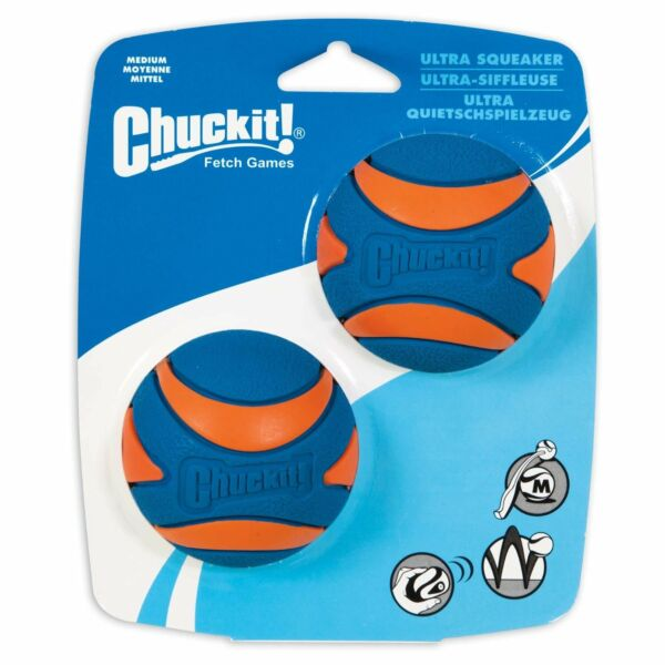 Chuckit Ultra Squeaker Ball Durable High Bounce Chewable Dog Toy Medium 2pack $10.67