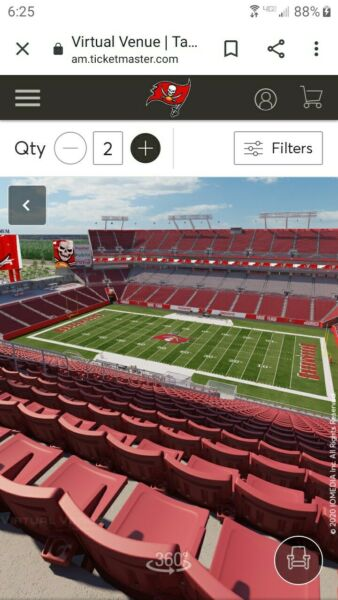 2 TAMPA BAY BUCCANEERS SEASON TICKETS SECTION 339 Row SINCLUDES PLAYOFF RIGHTS.