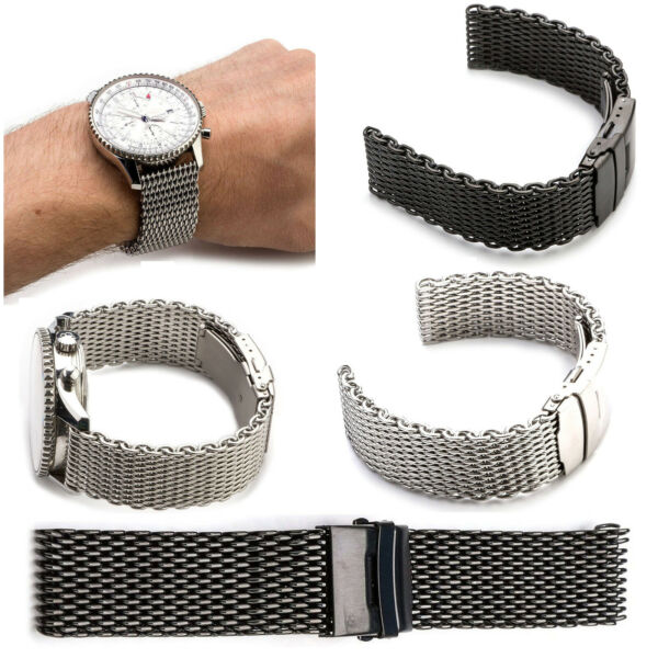 18~24MM Mesh Stainless Steel Watch Band Strap Bracelet for Breitlin Thick