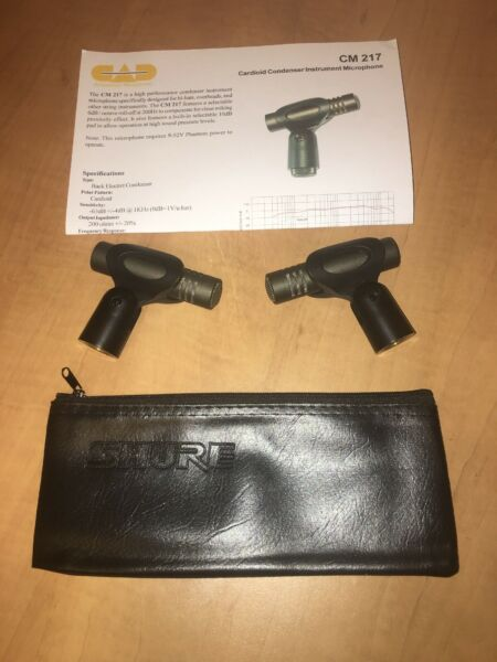 2 Condenser Mics Used Pro Stage Cymbal CAD CM217Shure SM57 Case CM 217 Drum Set $99.00