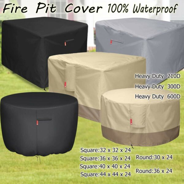 Outdoor SquareRound Gas Fire Pit Cover Durable Waterproof Patio Table Cover
