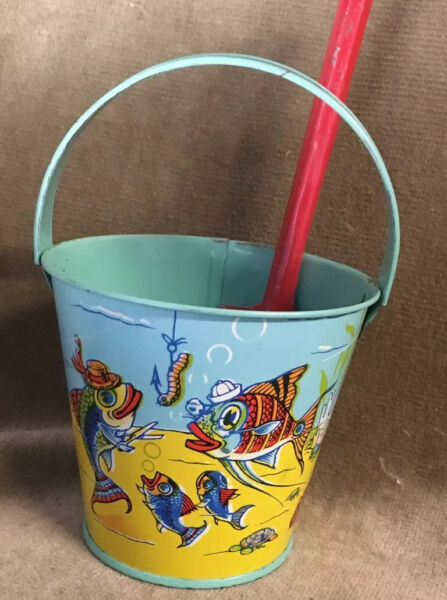 Vintage Tin Sand Pail And Shovel Rusell Stover Candy Bucket Under Sea Theme