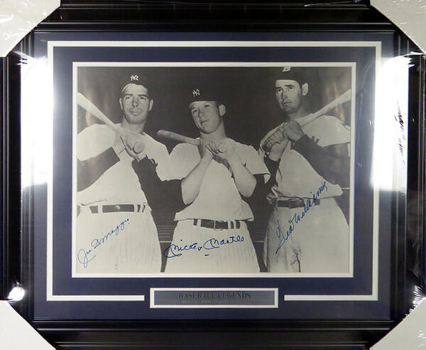 Mickey Mantle DiMaggio & Ted Williams Autographed Framed 16x20 Photo JSA Y38556