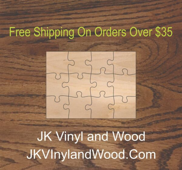 12 Piece Blank Wooden Puzzle Wood Cutout Wooden Craft Supply