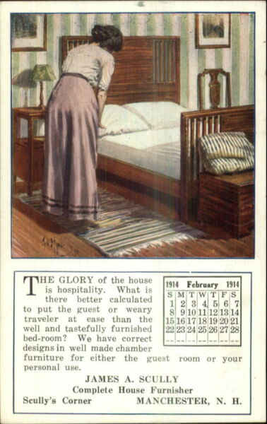 Woman Making Bed Furniture Advert Manchester NH Scully's Corner Postcard $8.29