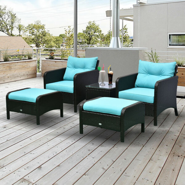 5pc Outdoor Patio Furniture Set Rattan Wicker Conversation Sofa w Ottoman $359.99