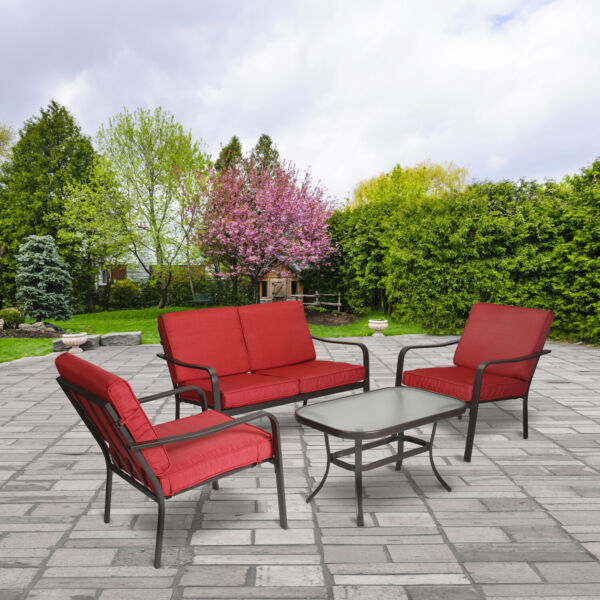 4 Piece Patio Furniture Set Table Chairs Sofa Outdoor Seating Conversation Sets $303.49
