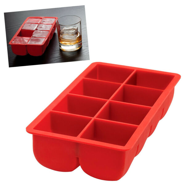 Big Block Silicone Ice Cube Tray Large 2quot;X2quot; Red Party Bar Cocktails Drink Mold $11.99