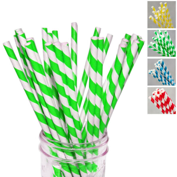 210PC Drinking Paper Straws Striped Colors Party Supply Decor Biodegradable Bulk $10.45