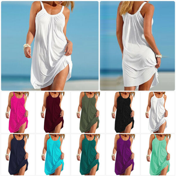 Women Summer Plain Sleeveless Dress Casual Strappy Loose Fit  Beachwear Sundress $17.89