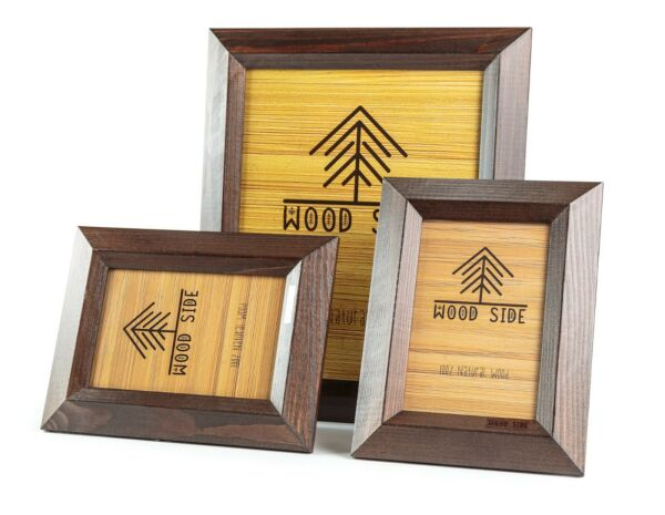 Rustic Wood Picture Frames 3 Pack - One 8 x 10 and Two 4 x 6 Photo Frame Brown