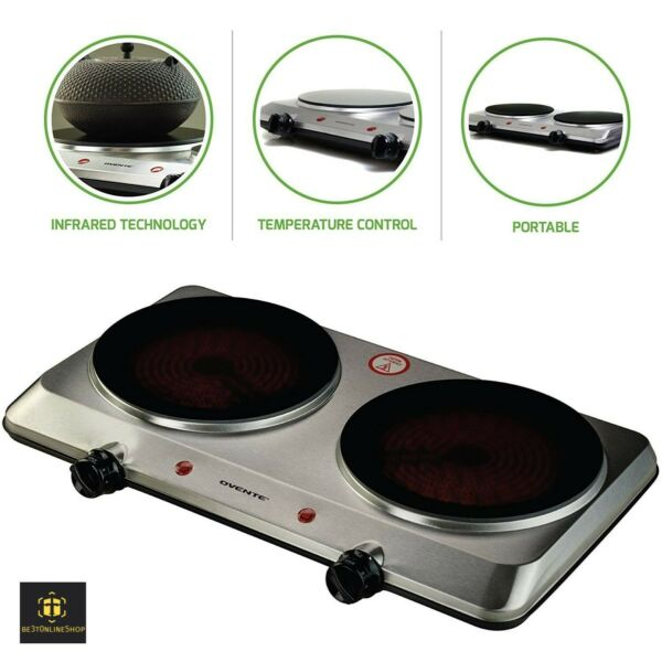 Double Induction Cooktop Portable Electric Stove Dual Kitchen Counter Top Burner