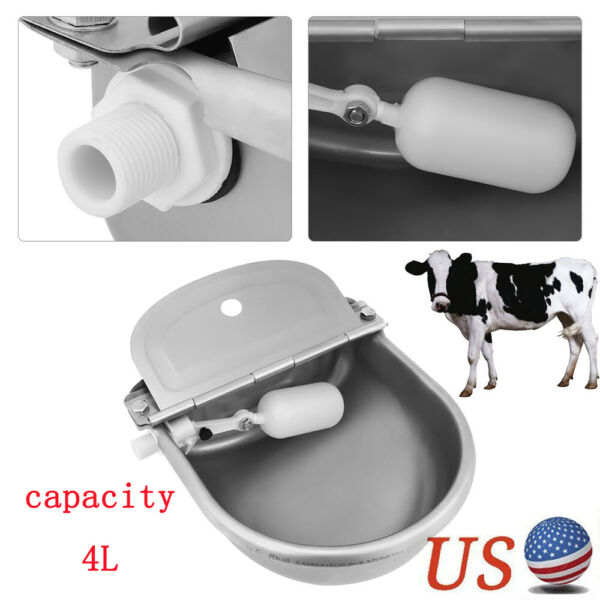 4L Large Automatic Bowl Water Drinker Dispenser For Horse Sheep Dogs Feeder Dish $34.59