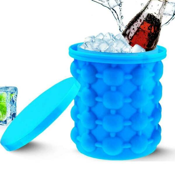 Summer Ice Cube Maker Genie Silicone Wine Ice Bucket Big Ice Cube Tray Mold Cup $8.99