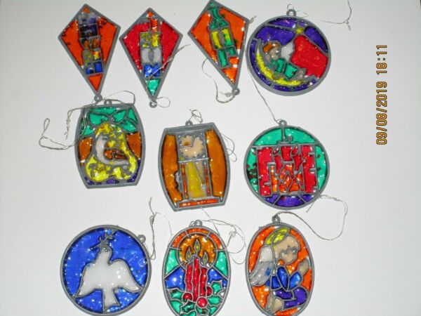 Lot of 10 Christmas Suncatcher Ornaments: Dove Candles Angel Fireplace MORE