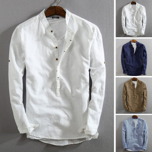 Men#x27;s Linen Slim Fit Henley T shirt Tops Long Sleeve Casual Button Smart Shirts