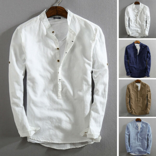 Men#x27;s Linen Slim Fit Henley T shirt Tops Long Sleeve Casual Button Smart Shirts $18.47