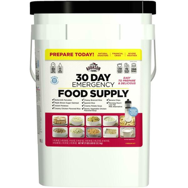 Augason Farms Emergency Food Supply Pail with Water Filtration Bottle 1 person