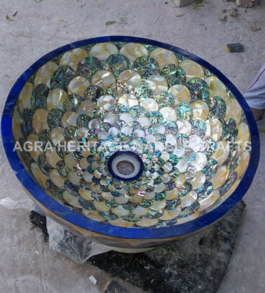 Round Marble Wash Basin Sink Lapis Pauashell Inlay Design Bathroom Decor E412