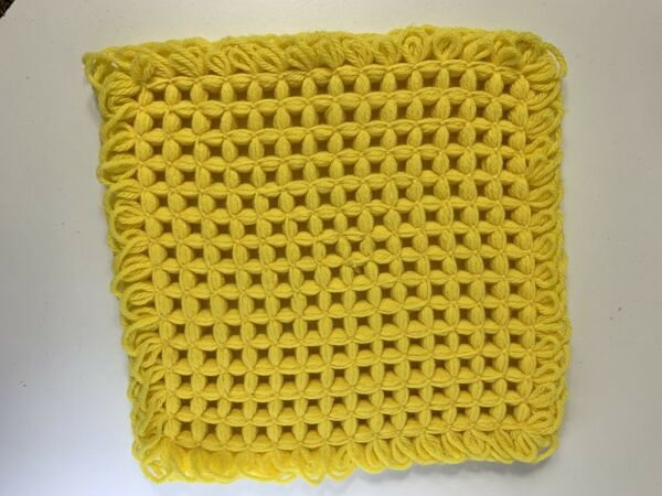 "Hand Crochet Yellow Square Pit Holder 10"" Square"